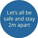 SOCIAL DISTANCING FLOOR STICKER Let's all be safe and stay 2m apart, blue
