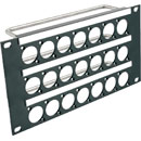 CANFORD UNIVERSAL CONNECTION PANEL KIT Half rack width, 3U 3x7, black