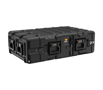 PELI SUPER-V-3U RACK CASE 3U, 610mm rack depth, rear-edge castors, 6x plastic handles