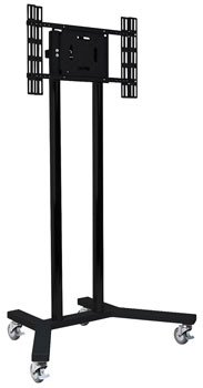 B-TECH BT8504/BB FLAT SCREEN FLOOR STAND/TROLLEY Universal, large, black base, poles