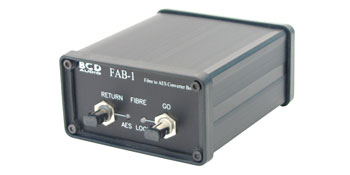 BCD FAB-1 AES-3 AUDIO TO ST-FIBRE INTERFACE Bi-directional AES/EBU, requires 2x fibres and DC power