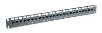 CANFORD CAT5E FEEDTHROUGH PATCH PANEL 1U 1x24, unscreened