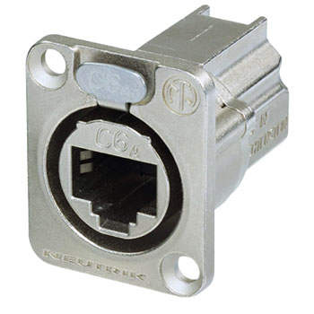 NEUTRIK NE8FDX-P6 ETHERCON CAT6A Panel mounting, shielded, feedthrough, nickel