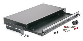 ST PANEL, 24 way 1U (without couplers) sliding tray and fibre management, black