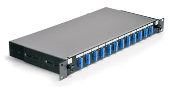 SC MM PANEL, 24 way (12x Duplex) 1U with sliding tray and fibre management, black