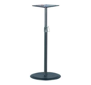 K&M 26740 MONITOR LOUDSPEAKER STAND Floor, round base, plate mount, up to 35kg, 950-1430mm, black