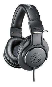 AUDIO TECHNICA ATH-M20X HEADPHONES Closed, 47 ohms, 3.5mm jack, 6.35mm adapter, coiled cable