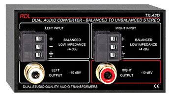RDL TX-A2D AUDIO CONVERTER Balanced to unbalanced, stereo to stereo, terminal in, 2x RCA (phono) out