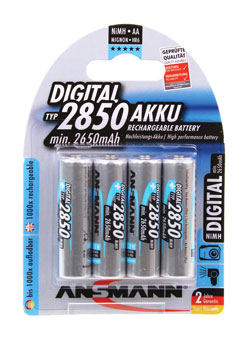 ANSMANN 2850mAh BATTERY, AA size, NiMH (Pack of 4)