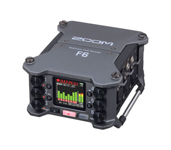 ZOOM F6 FIELD RECORDER Portable, 14-track, 32-bit float recording, SD/SDHC/SDXC card, 6x mic inputs