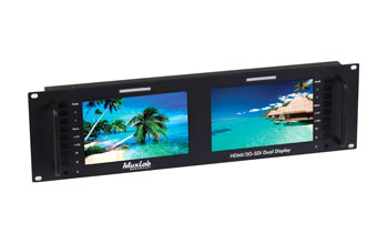 MUXLAB 500841 HDMI/3G-SDI DUAL DISPLAY Multiscreen video monitor, 2x 7-inch displays, 3U rackmount