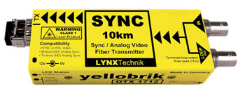 LYNX YELLOBRIK OTX 1712 LC FIBRE OPTIC TRANSMITTER Analogue sync and video, Singlemode 1310nm LC