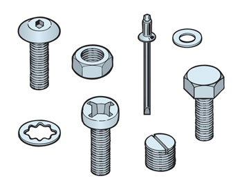 WASHERS, WOODSCREWS, THREADED ROD, MISCELLANEOUS