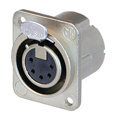 NEUTRIK NC5FD-LX-M3 XLR Female panel connector, nickel shell, silver contacts, M3 holes