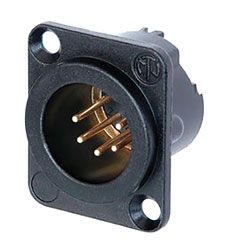 NEUTRIK NC5MD-LX-B XLR Male panel connector, black shell, gold contacts