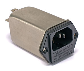 SCHAFFNER AC MAINS POWER CONNECTOR, IEC Male, panel, with filter