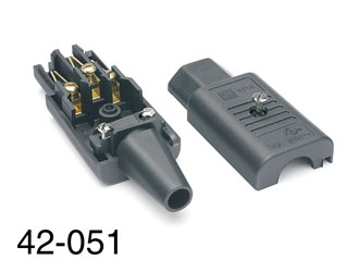 SCHURTER IEC MAINS CONNECTOR, C13 type, female, cable