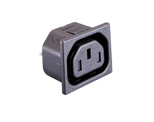 BULGIN PX0783/15/28 IEC MAINS CONNECTOR F type, female, panel, shuttered, snap-in fixing