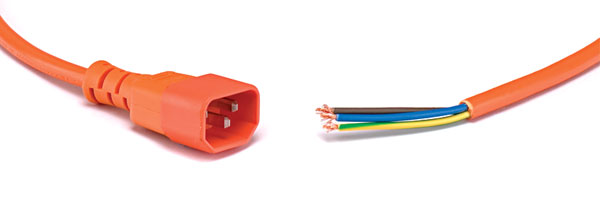 AC MAINS POWER CORDSET IEC male - bare ends, 5 metres, orange