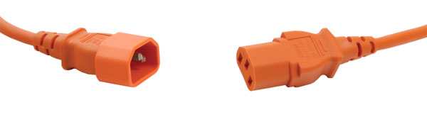 AC MAINS POWER CORDSET IEC C13 female - IEC C14 male, 5 metres, orange
