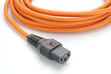 AC MAINS POWER CORDSET IEC-Lock C13 female - IEC C14 male, 3 metres, orange
