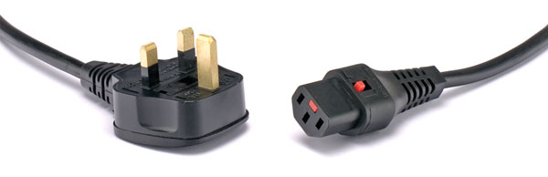 AC MAINS POWER CORDSET IEC-Lock C13 female - UK 13A, 3 metres, black