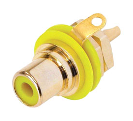 REAN NYS367-4 RCA (PHONO) PANEL SOCKET Gold contacts, yellow ring
