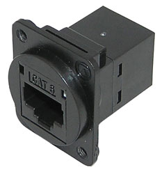 TUK D-SERIES KEYSTONE RJ45 BACK-TO-BACK COUPLER Cat6, black