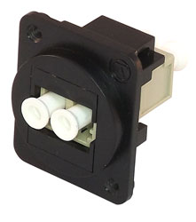 TUK D-SERIES KEYSTONE FIBRE COUPLER LC to LC, multi mode, duplex, black/beige