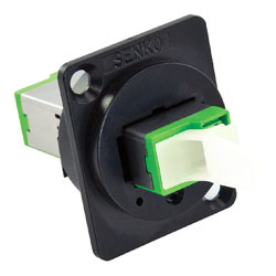 SENKO FIBRE OPTIC E2000 APC SM FEEDTHROUGH COUPLER, 'Universal' mounting, green