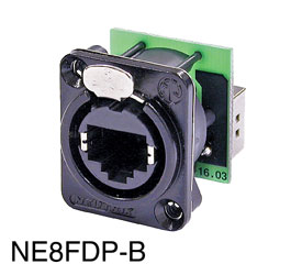 NEUTRIK NE8FDP-B ETHERCON Panel mounting, black, back-to-back feedthrough