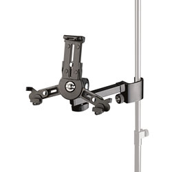 K&M 19796 TABLET HOLDER Pole-mount clamp, up to 242 x 189mm (H x W), black