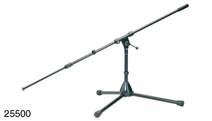 K&M 255 LOW LEVEL BOOM STAND Folding legs, 290mm , two-piece 870-1550mm boom arm, cast base, black