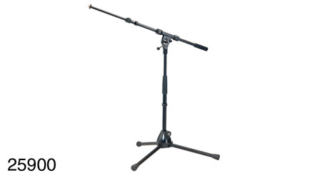 K&M 259 LOW LEVEL BOOM STAND Folding legs, 425-645 , two-piece 470-775mm boom arm, cast base, black
