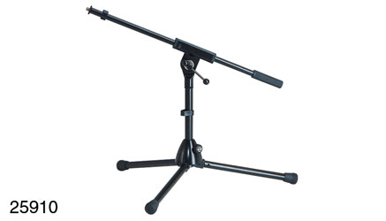 K&M 259/1 LOW LEVEL BOOM STAND Folding legs, 280mm , one-piece 525mm boom arm, cast base, black