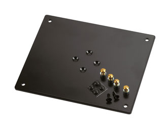 K&M 26792 BEARING PLATE 240 x 5 x 200mm, 1.8kg, 4off rubber feet and spikes included, black