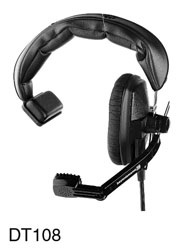 BEYERDYNAMIC DT 108.00 HEADSET Single ear, 400 ohms, with 200 ohms mic, 1.5m bare ended cable, black