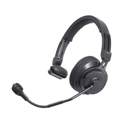 AUDIO TECHNICA BPHS2S HEADSET Single-ear, dynamic mic, 3-pin male XLR, 6.35mm jack, straight cable