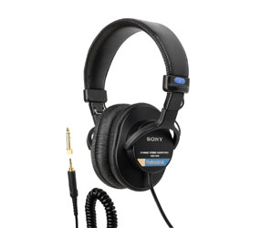 SONY MDR-7506/1 HEADPHONES Closed, 63 ohms, 3.5mm jack, 6.35mm adapter, coiled cable, folding