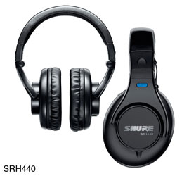 SHURE SRH440-EFS HEADPHONES Closed, 3.5mm jack, 6.35mm adapter, single sided coiled cable