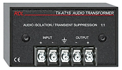 RDL TX-AT1S AUDIO ISOLATION TRANSFORMER 600 ohms, 1:1, transient and HF suppression, terminal I/O