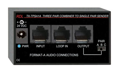 RDL TX-TPSA1A FORMAT-A COMBINER Active, three pair input to single pair output