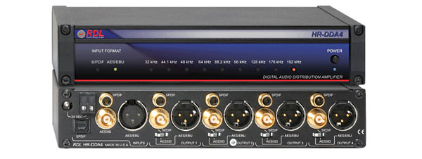 RDL HR-DDA4 DISTRIBUTION AMPLIFIER Audio, AES/EBU, S/PDIF, digital, 1x4, 110/75 ohms, optical