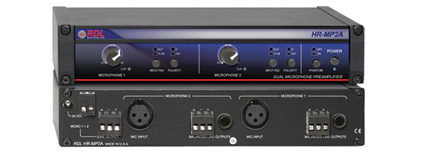 RDL HR-MP2A MICROPHONE PREAMPLIFIER Dual input, balanced, stereo, mono out, 24/48V phantom, filters