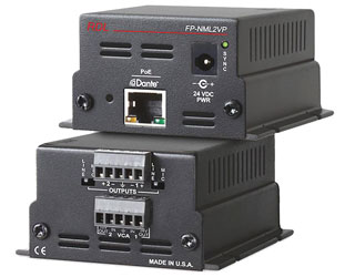 RDL FP-NML2VP DANTE INTERFACE Output, 2x Mic/line out, terminal blocks, VCA, POE