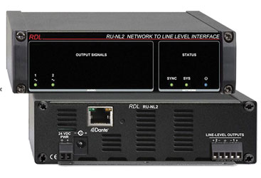 RDL RU-NL2 DANTE INTERFACE Output, 2x line out, terminal blocks