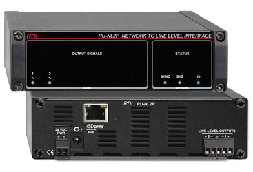 RDL RU-NL2P DANTE INTERFACE Output, 2x line out, terminal blocks, POE