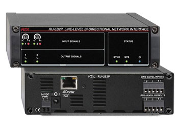 RDL RU-LB2P DANTE INTERFACE Bi-directional, 2x line in and out, terminal blocks, POE