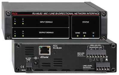 RDL RU-MLB2 DANTE INTERFACE Bi-directional, 2x Mic/line in and out, terminal blocks