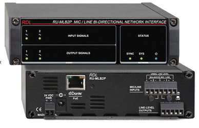 RDL RU-MLB2P DANTE INTERFACE Bi-directional, 2x Mic/line in and out, terminal blocks, POE